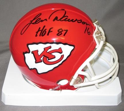 Len Dawson Kansas City Chiefs NFL Autographed Mini Football Helmet with HOF '87 Inscription
