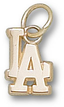 "Los Angeles Dodgers ""LA"" 3/8"" Charm - 14KT Gold Jewelry"