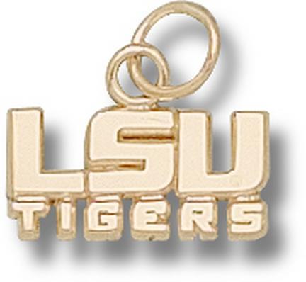 "Louisiana State (LSU) Tigers 1/4"" ""LSU Tigers"" Charm - 14KT Gold Jewelry"