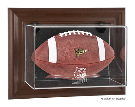 Louisiana State (LSU) Tigers Brown Framed Wall Mountable Logo Football Display Case