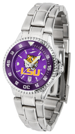 Louisiana State (LSU) Tigers Competitor AnoChrome Ladies Watch with Steel Band and Colored Bezel