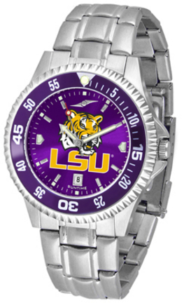 Louisiana State (LSU) Tigers Competitor AnoChrome Men's Watch with Steel Band and Colored Bezel