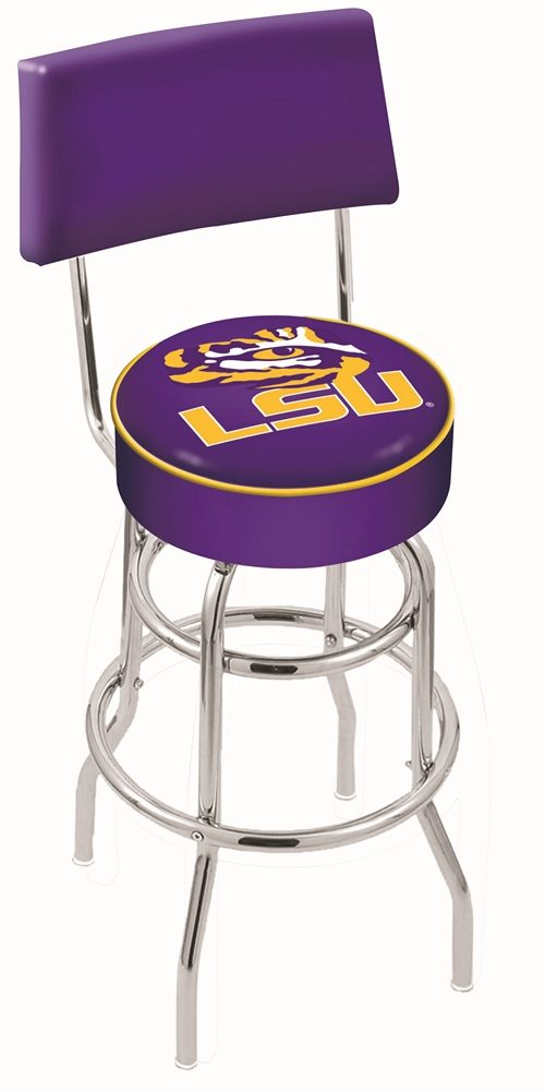 "Louisiana State (LSU) Tigers (L7C4) 30"" Tall Logo Bar Stool by Holland Bar Stool Company (with Double Ring Swivel Chrome Base and Chair Seat Back)"