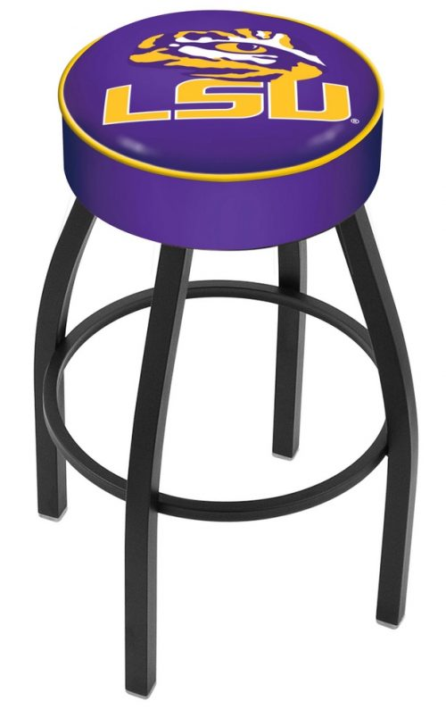 "Louisiana State (LSU) Tigers (L8B1) 25"" Tall Logo Bar Stool by Holland Bar Stool Company (with Single Ring Swivel Black Solid Welded Base)"