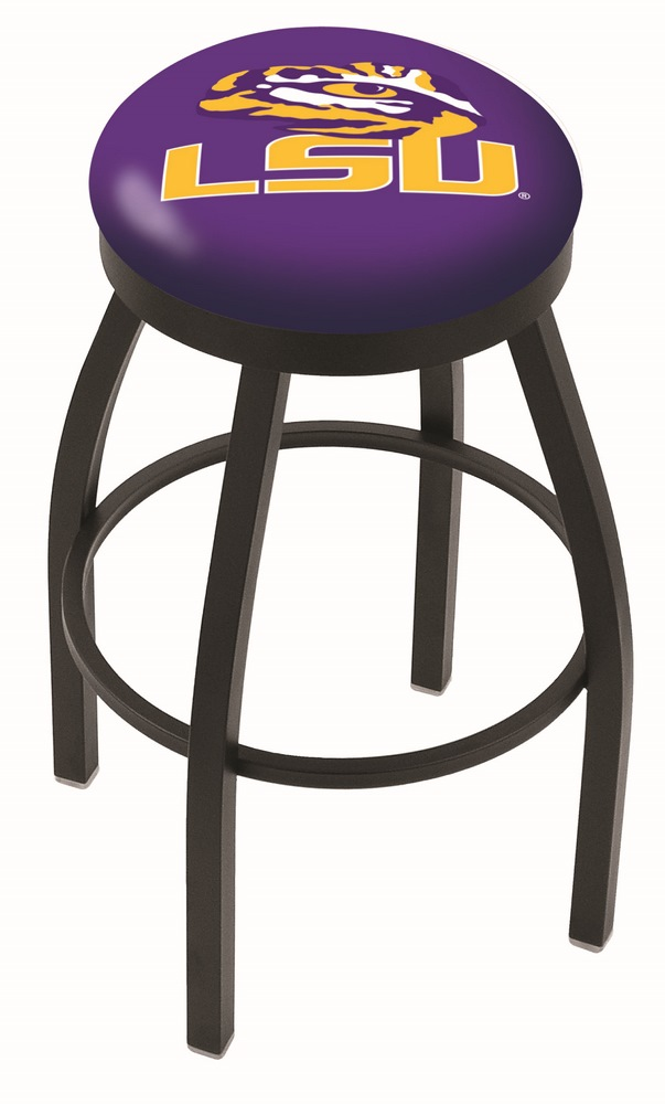"Louisiana State (LSU) Tigers (L8B2B) 30"" Tall Logo Bar Stool by Holland Bar Stool Company (with Single Ring Swivel Black Solid Welded Base)"
