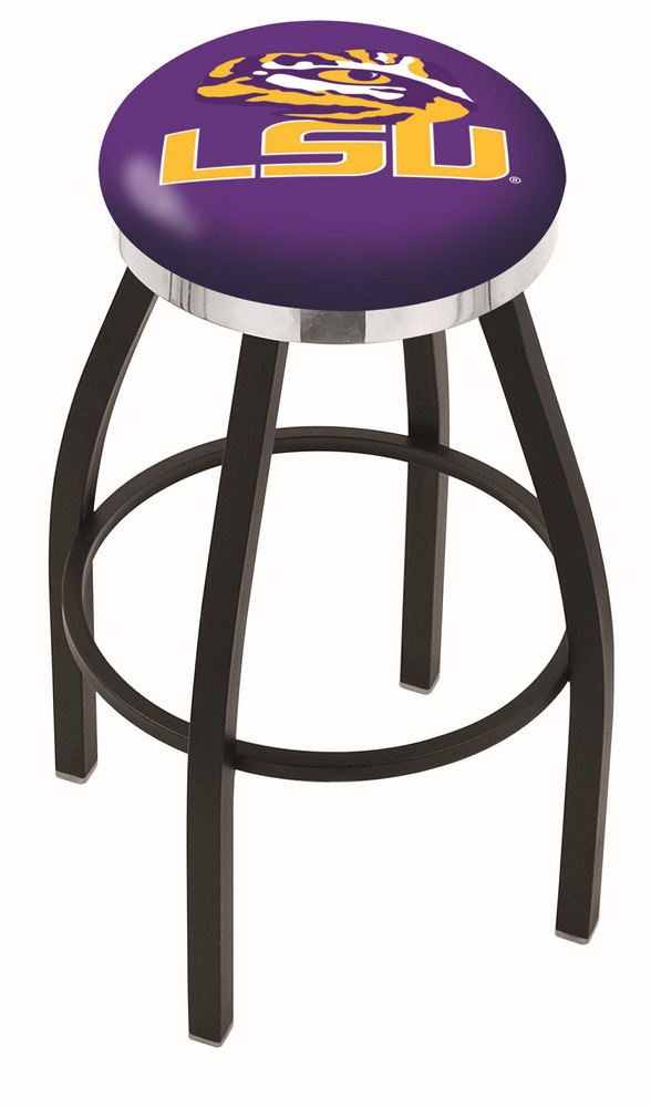 """Louisiana State (LSU) Tigers (L8B2C) 30"""" Tall Logo Bar Stool by Holland Bar Stool Company (with Single Ring Swivel Black Solid Welded Base)"""