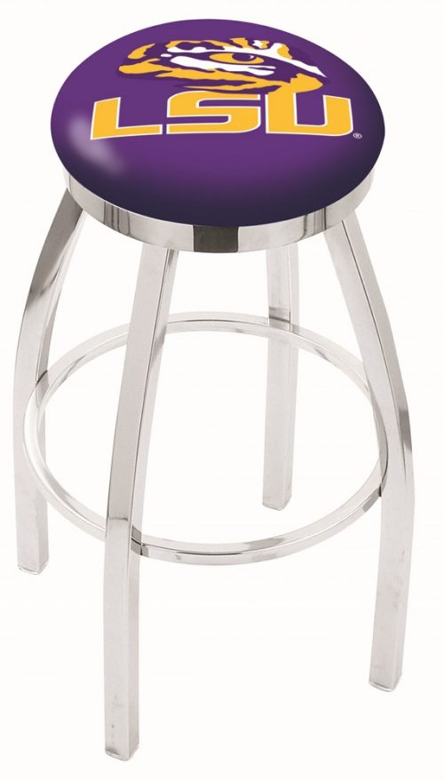 "Louisiana State (LSU) Tigers (L8C2C) 25"" Tall Logo Bar Stool by Holland Bar Stool Company (with Single Ring Swivel Chrome Solid Welded Base)"