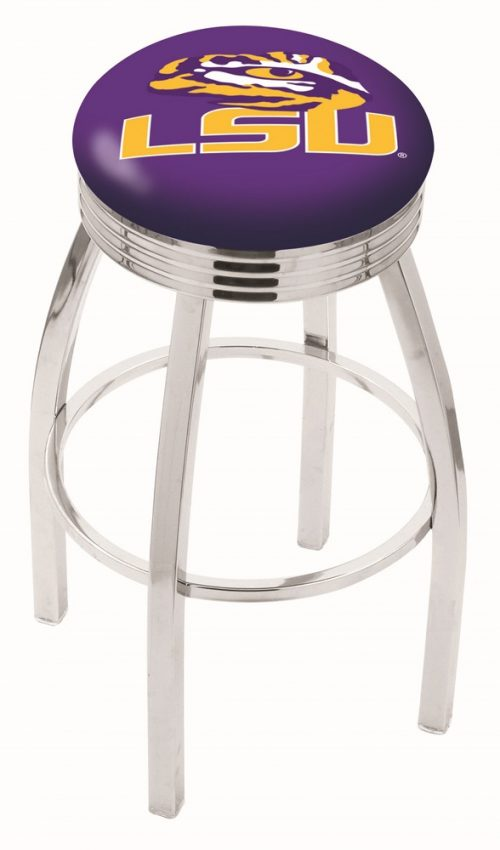 "Louisiana State (LSU) Tigers (L8C3C) 25"" Tall Logo Bar Stool by Holland Bar Stool Company (with Single Ring Swivel Chrome Solid Welded Base)"