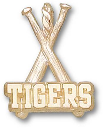"Louisiana State (LSU) Tigers ""Tigers Baseball Bats"" 3/8"" Charm - 14KT Gold Jewelry"