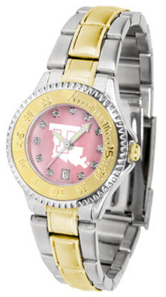 Louisiana Tech Bulldogs Competitor Ladies Watch with Mother of Pearl Dial and Two-Tone Band