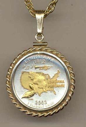 "Louisiana Two Tone Rope Bezel Statehood Quarter with 18"" Rope Necklace"