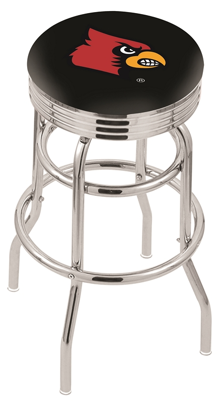 "Louisville Cardinals (L7C3C) 25"" Tall Logo Bar Stool by Holland Bar Stool Company (with Double Ring Swivel Chrome Base)"