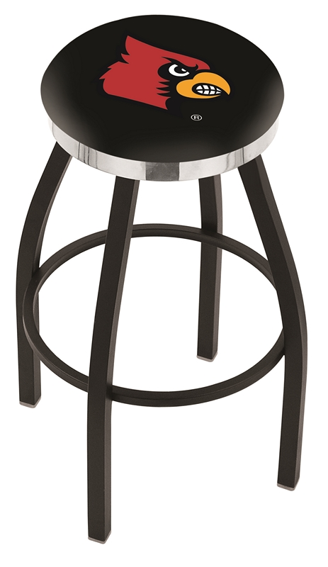 "Louisville Cardinals (L8B2C) 25"" Tall Logo Bar Stool by Holland Bar Stool Company (with Single Ring Swivel Black Solid Welded Base)"