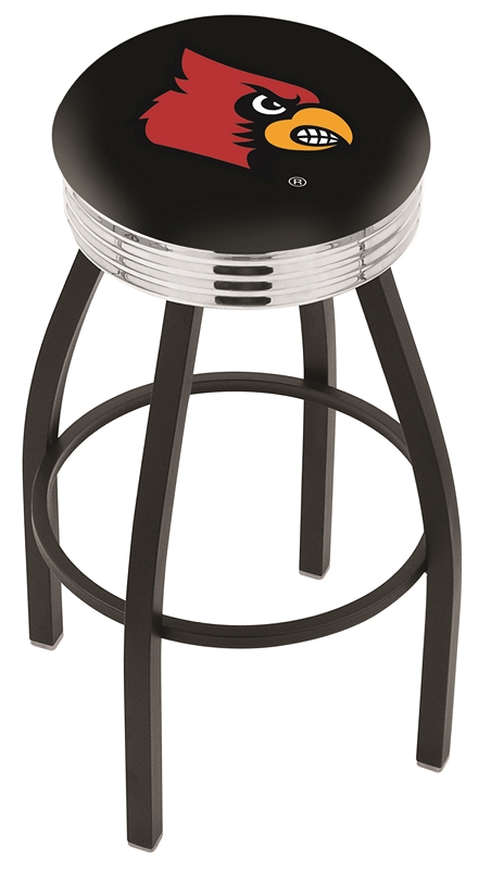 """Louisville Cardinals (L8B3C) 25"""" Tall Logo Bar Stool by Holland Bar Stool Company (with Single Ring Swivel Black Solid Welded Base)"""