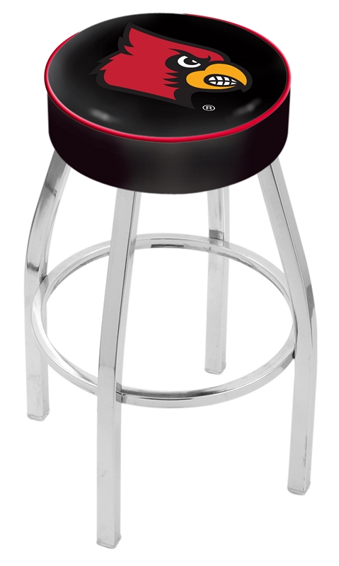 "Louisville Cardinals (L8C1) 25"" Tall Logo Bar Stool by Holland Bar Stool Company (with Single Ring Swivel Chrome Solid Welded Base)"