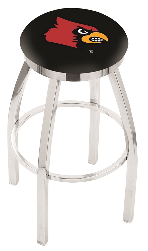 "Louisville Cardinals (L8C2C) 25"" Tall Logo Bar Stool by Holland Bar Stool Company (with Single Ring Swivel Chrome Solid Welded Base)"