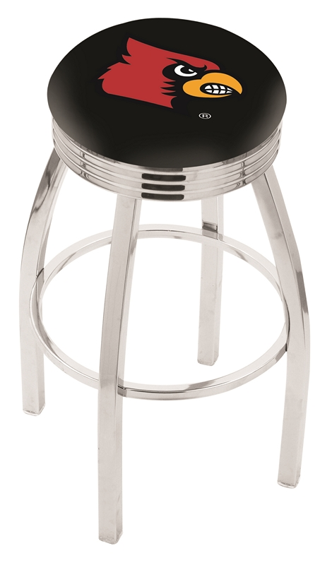 "Louisville Cardinals (L8C3C) 30"" Tall Logo Bar Stool by Holland Bar Stool Company (with Single Ring Swivel Chrome Solid Welded Base)"