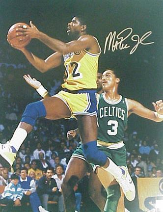 "Magic Johnson Autographed ""Layup vs. Boston Celtics"" 8"" x 10"" Photograph (Unframed)"