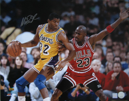 "Magic Johnson Autographed ""vs. Michael Jordan 2"" 8"" x 10"" Photograph (Unframed)"