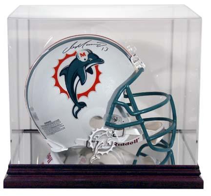 Mahogany Football Mini Helmet Display Case with Miami Dolphins Logo