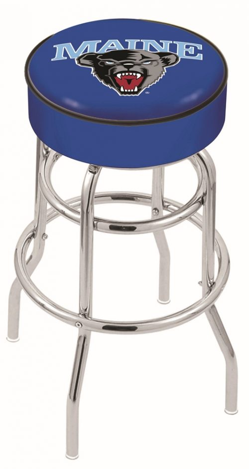 "Maine Black Bears (L7C1) 25"" Tall Logo Bar Stool by Holland Bar Stool Company (with Double Ring Swivel Chrome Base)"