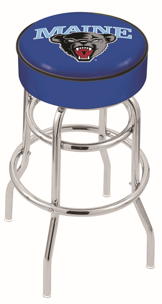 "Maine Black Bears (L7C1) 30"" Tall Logo Bar Stool by Holland Bar Stool Company (with Double Ring Swivel Chrome Base)"