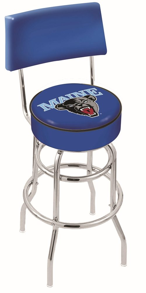 """Maine Black Bears (L7C4) 25"""" Tall Logo Bar Stool by Holland Bar Stool Company (with Double Ring Swivel Chrome Base and Chair Seat Back)"""