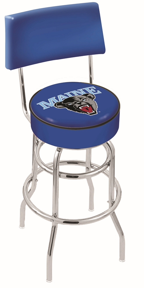"""Maine Black Bears (L7C4) 30"""" Tall Logo Bar Stool by Holland Bar Stool Company (with Double Ring Swivel Chrome Base and Chair Seat Back)"""