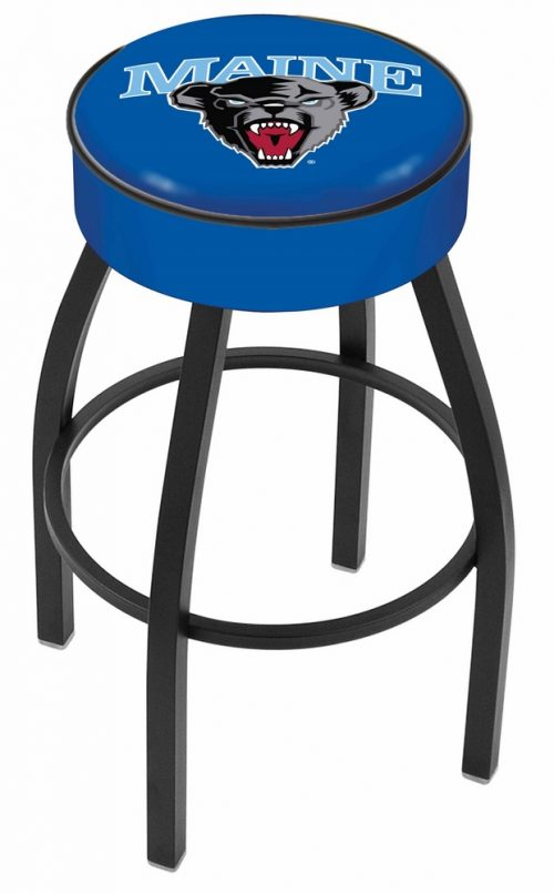 "Maine Black Bears (L8B1) 25"" Tall Logo Bar Stool by Holland Bar Stool Company (with Single Ring Swivel Black Solid Welded Base)"