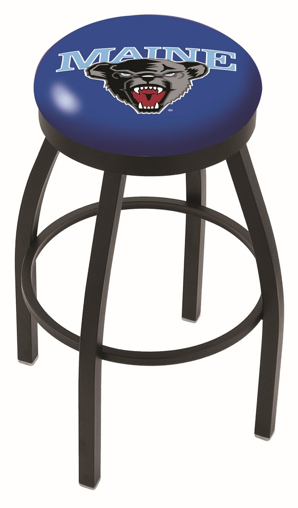 "Maine Black Bears (L8B2B) 25"" Tall Logo Bar Stool by Holland Bar Stool Company (with Single Ring Swivel Black Solid Welded Base)"