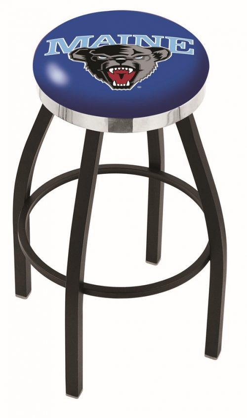 "Maine Black Bears (L8B2C) 25"" Tall Logo Bar Stool by Holland Bar Stool Company (with Single Ring Swivel Black Solid Welded Base)"