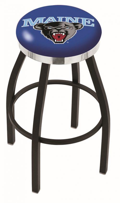 "Maine Black Bears (L8B2C) 30"" Tall Logo Bar Stool by Holland Bar Stool Company (with Single Ring Swivel Black Solid Welded Base)"