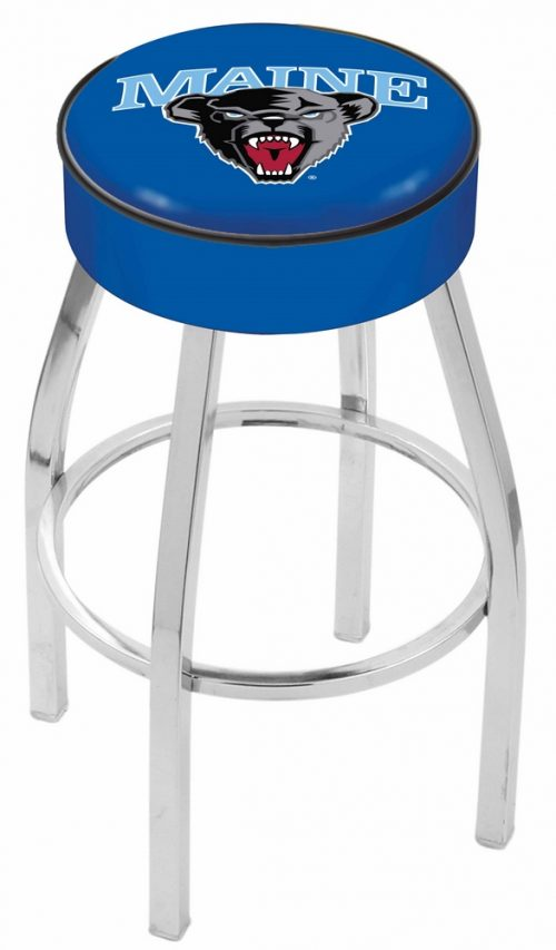 "Maine Black Bears (L8C1) 25"" Tall Logo Bar Stool by Holland Bar Stool Company (with Single Ring Swivel Chrome Solid Welded Base)"