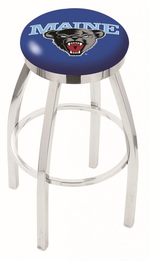"""Maine Black Bears (L8C2C) 25"""" Tall Logo Bar Stool by Holland Bar Stool Company (with Single Ring Swivel Chrome Solid Welded Base)"""