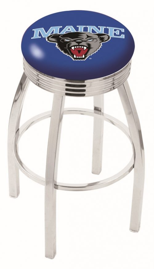 "Maine Black Bears (L8C3C) 30"" Tall Logo Bar Stool by Holland Bar Stool Company (with Single Ring Swivel Chrome Solid Welded Base)"