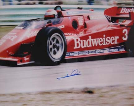 "Mario Andretti Autographed ""Budweiser Car Left"" 16"" x 20"" Photograph (Unframed)"