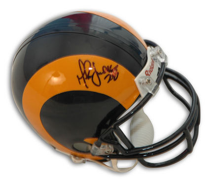 Marshall Faulk Autographed St. Louis Rams Throwback Yellow Horn Mini Helmet