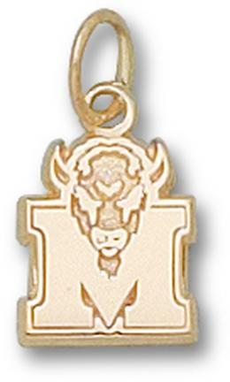 """Marshall Thundering Herd 3/8"""" """"M Marco"""" Charm - 10KT Gold Jewelry"""