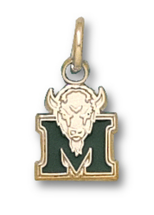 "Marshall Thundering Herd 3/8"" ""M Marco"" Green Enamel Charm - 10KT Gold Jewelry"