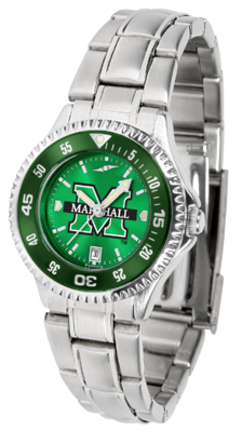 Marshall Thundering Herd Competitor AnoChrome Ladies Watch with Steel Band and Colored Bezel