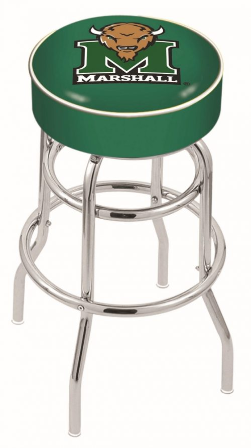 "Marshall Thundering Herd (L7C1) 25"" Tall Logo Bar Stool by Holland Bar Stool Company (with Double Ring Swivel Chrome Base)"