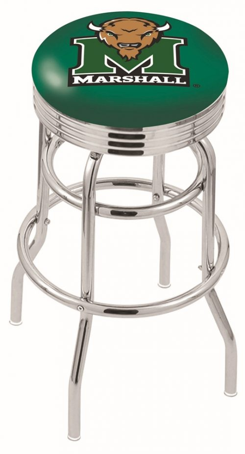 "Marshall Thundering Herd (L7C3C) 30"" Tall Logo Bar Stool by Holland Bar Stool Company (with Double Ring Swivel Chrome Base)"