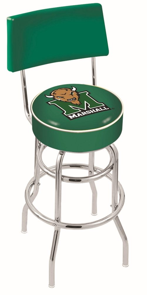 "Marshall Thundering Herd (L7C4) 30"" Tall Logo Bar Stool by Holland Bar Stool Company (with Double Ring Swivel Chrome Base and Chair Seat Back)"