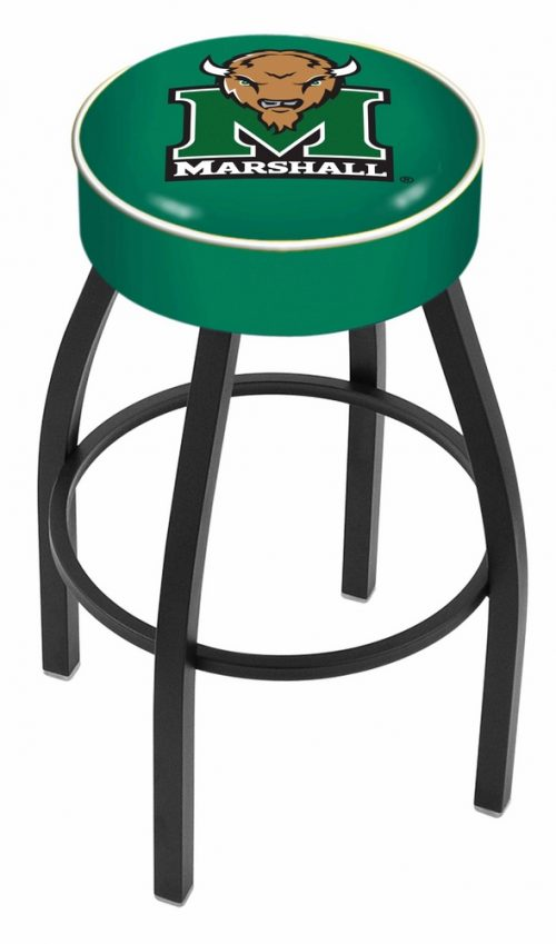 """Marshall Thundering Herd (L8B1) 30"""" Tall Logo Bar Stool by Holland Bar Stool Company (with Single Ring Swivel Black Solid Welded Base)"""