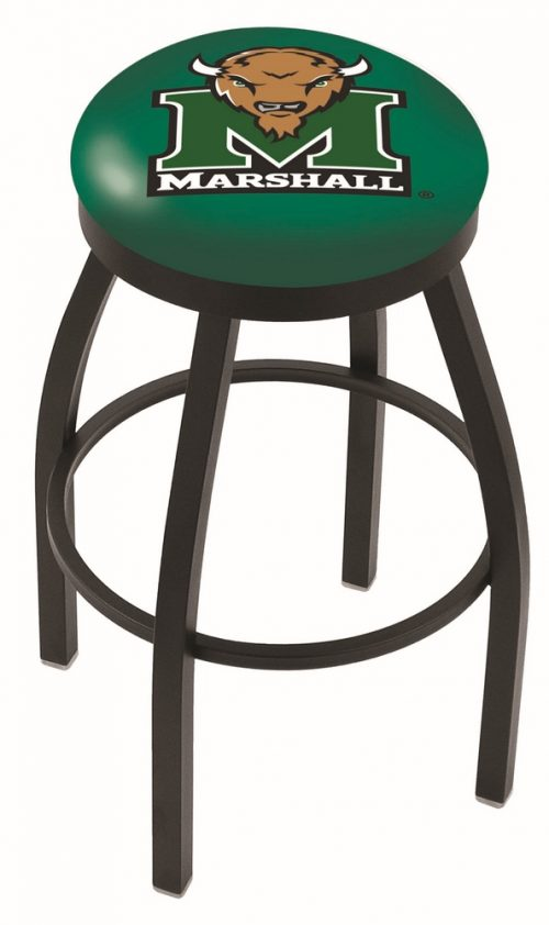 "Marshall Thundering Herd (L8B2B) 30"" Tall Logo Bar Stool by Holland Bar Stool Company (with Single Ring Swivel Black Solid Welded Base)"