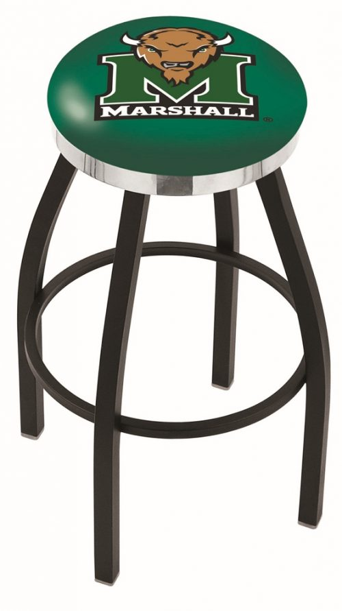 """Marshall Thundering Herd (L8B2C) 30"""" Tall Logo Bar Stool by Holland Bar Stool Company (with Single Ring Swivel Black Solid Welded Base)"""