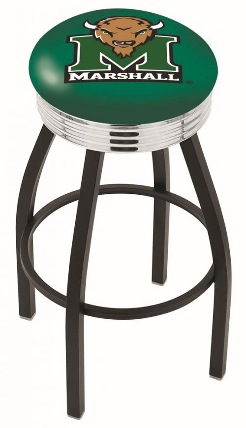 "Marshall Thundering Herd (L8B3C) 25"" Tall Logo Bar Stool by Holland Bar Stool Company (with Single Ring Swivel Black Solid Welded Base)"