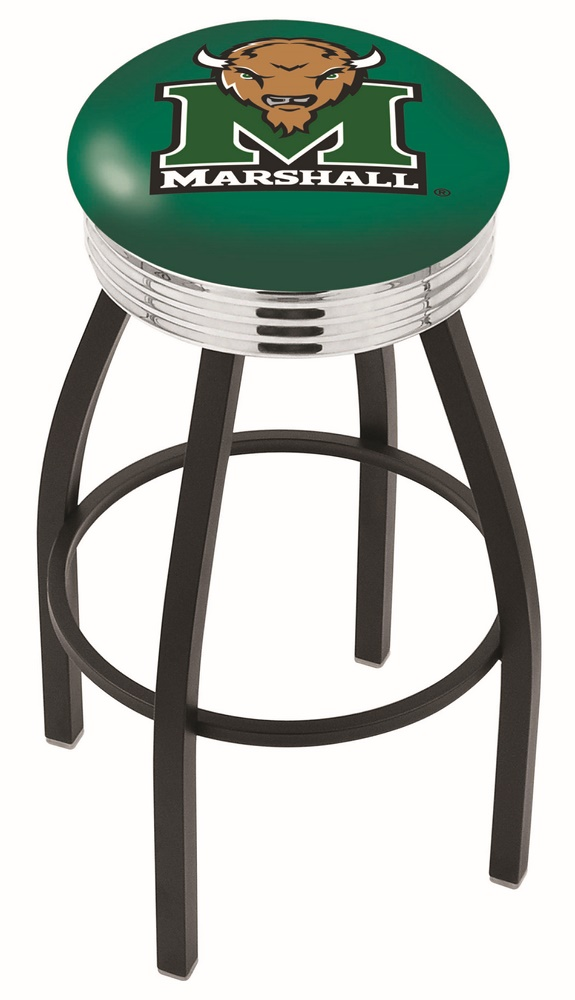 """Marshall Thundering Herd (L8B3C) 25"""" Tall Logo Bar Stool by Holland Bar Stool Company (with Single Ring Swivel Black Solid Welded Base)"""