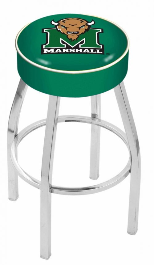 "Marshall Thundering Herd (L8C1) 25"" Tall Logo Bar Stool by Holland Bar Stool Company (with Single Ring Swivel Chrome Solid Welded Base)"