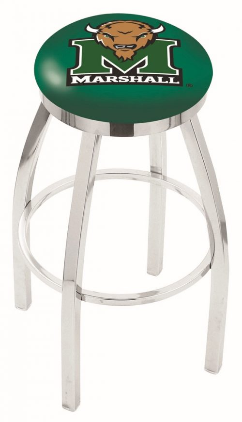 "Marshall Thundering Herd (L8C2C) 30"" Tall Logo Bar Stool by Holland Bar Stool Company (with Single Ring Swivel Chrome Solid Welded Base)"